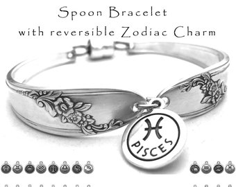 Spoon Bracelet with Zodiac Charm, Vintage Silverware Bracelet Jewelry with Reversible Astrological Sign Queen Bess Horoscope Symbol Jewelry