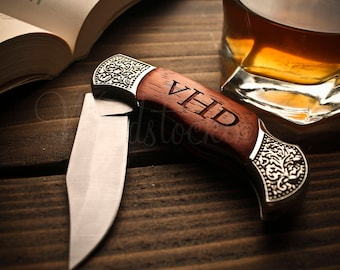 Custom Groomsmen Pocket Knife Camping Knife Anniversary Gifts for Boyfriend Father Gift for Mens Gift for Dad Groomsmen Gift Engraved Knife