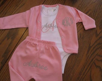 Infant Girl Monogramed Outfit, Baby girl outfit, Personalized baby girl gift