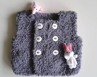 Vest docker baby birth in 24 months hand-knitted woolen intoxicates(tints) with buttonhole