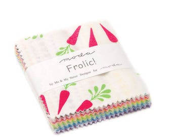 Frolic Mini Charm Pack - Me and My Sister - Moda Fabrics  - Bunny Fabric - Bunnies - Baby Fabric - Baby Shower - Juvenile Fabric - IN STOCK