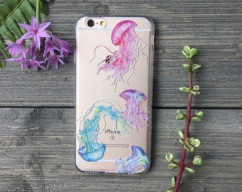 Jellyfish Watercolor iPhone Case, Your choice of Soft Plastic (TPU) or Wood