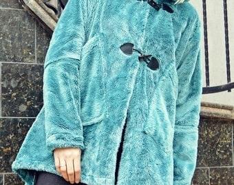 SALE 50% OFF Turquoise Faux Fur Coat / Extravagant Faux Fur Coat / Asymmetrical Winter Coat TC77