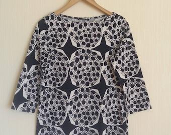 Vintage Marimekko Womens Black/White Cotton Top Size Small