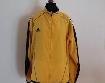 ADIDAS Vintage Yellow Black White Stripes Windbreaker Sport Jacket XLarge Size
