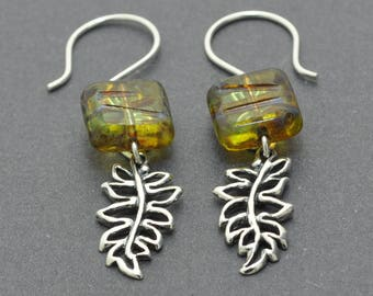 Leaf Earrings, Dangle Earrings, Sterling Silver Earrings, Czech Glass Earrings