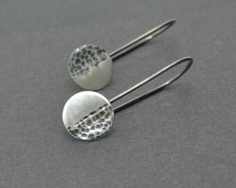 Eclipse Earrings, Disc Earrings, Oxidised Earrings, Hammered Earrings, Sterling Silver Dangle, Sun, Moon