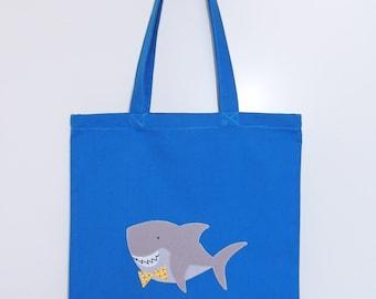 Shark bag tote bag - blue and grey cotton