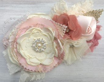 Blush and neutral tones Dog wedding collar, wedding dog collar, blush Wedding Dog collar, blush fancy dog collar, dog wedding attire