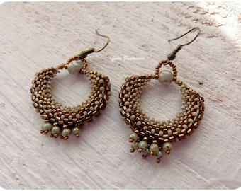 Creole earrings made of woven beads (bronze and verdigris)