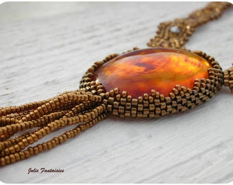 Miyuki beads necklace * amber and Dark Bronze