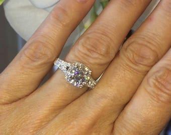 Moissanite Engagement Ring Split Shank Ring 1.0ct Forever One Moissanite Ring .95ct Natural Diamonds Halo Gold Ring Pristine Custom Rings