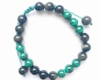 Earth Elements Bracelet, Malachite Bracelet, Gold Obsidian Bracelet, Grounded Bracelet, Harmony Bracelet, Balance Bracelet