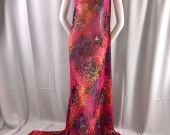 """Fuchsia tie dyed chiffon 58"""" wide-multi color floral print-sheer fabric-100% polyester-nightgown-dresses-apparel-fashion-sold by the yard."""