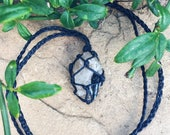 Hemp wrapped Clear Quartz with Black Tourmaline Necklace ~ crystal necklace ~ boho ~ hippie ~ healing crystals ~