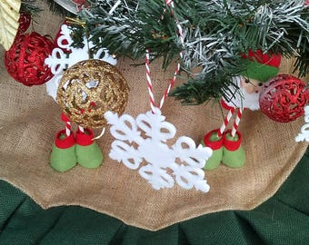 """Tree Skirt - Burlap Tree Skirt - Christmas Tree skirt with colored ruffle - 40""""-46"""" - Choose your size"""