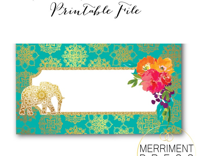 Indian Themed Food Tents // Food Labels // Elephant // Gold // Mandala // Bollywood // Printable // Instant Download // JAIPUR COLLECTION