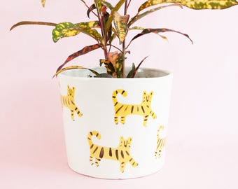 Nimerah Tiger big planter - orange stripe big cat ceramic pot for indoor or outdoor house plants