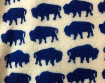 Blue small Buffalo custom fleece fabric 2 yards 16 inches full peice