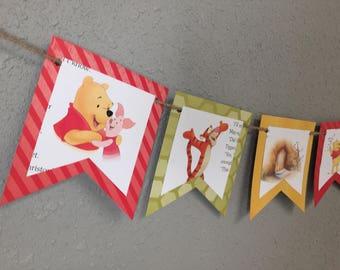 Winnie the Pooh Banner, Birthday, Celebrate, Storybook, Book, Children, Party
