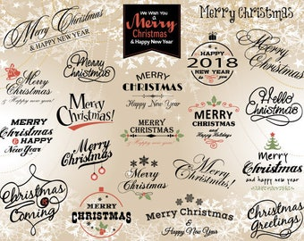 Instant Download Merry Christmas Clip Art Happy New Year Clipart Christmas Scrapbook Christmas Digital Photo Overlay Christmas Wording 0368