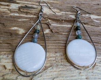 Seashell and mixed stone teardrop earrings