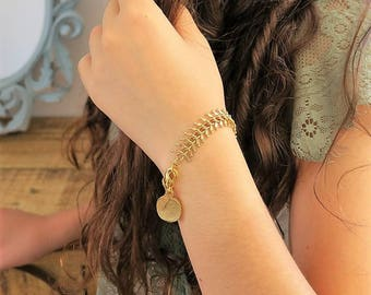 Fishbone Bracelet, Coin Charm Bracelet, Fishbone Chain, Gold Plated Coin Jewelry, Coin Pendant Jewelry, Bracelet for Her, Bridal Bracelet