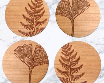Wooden Botanical Homeware, Stylish Minimal Coasters, Gift For Plant Lover, New Home Decor, Eco Friendly, Set Of Four Botanical Coasters,