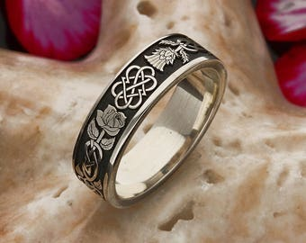 Thistle and Rose Silver Ring, Custom Laser Engraved to Order
