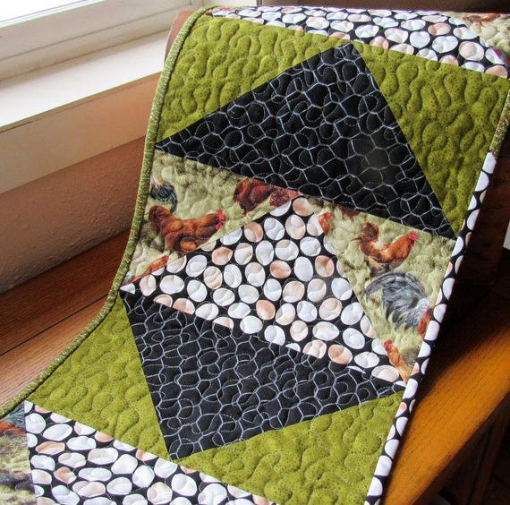 Quilted Table Runner Chicken Theme