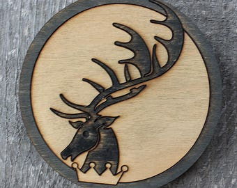 Baratheon Game of Thrones Wood Coaster | Rustic/Vintage | Hand Stained and Glued