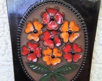 Mid-Century Jie Gantofta Sweden Floral Ceramic Plaque Wall Tile (9 x 7)