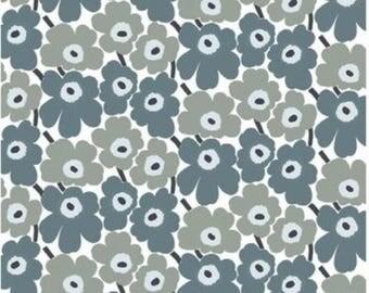 Marimekko Gray Pieni Unikko cotton fabric, half yard, for pillows, bags, aprons etc. Finland
