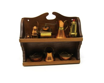 Kitchen and Serving Themed Brass Miniatures with Shelf - Price Imports 8 Piece Set - Classic Forms Made in Japan