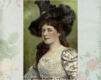 Victorian Wall Art, 20th Century Women, Vintage Portraits, Victorian Prints, Retro Art, Gift Woman, Shabby Chic Decor, Shabby Chic Print
