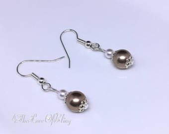 Classically beautiful Bronze Pearl Drop Earrings made with Swarovski Pearls | Bridesmaids Gifts | Bridal | Elegant | Stylish | Simple