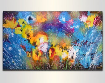 LARGE Abstract Flowers Floral Painting for Living room decor Art for bedroom Original Acrylic Painting on canvas Wall Art Colorful painting