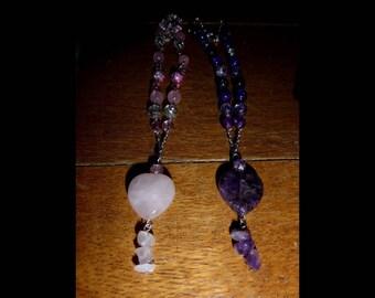 Gemstone heart beaded necklace