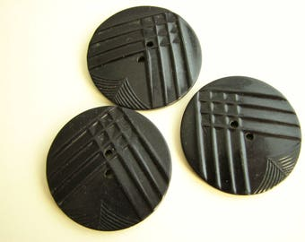 """3 large buttons, black buttons in art deco style, 35 mm - 1 3/8"""" across"""