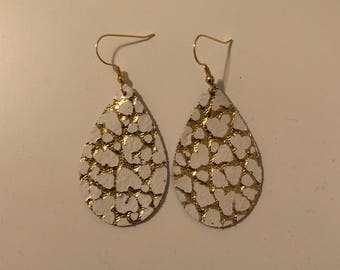 White With Gold Fleck Cowhide Leather Teardrop Earrings