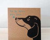 """Dog Father's Day Card // Dog Dad Card // Dachshund Print // Dachshund Card // Sausage Dog Card // 12cm x 12cm / 4.7"""" x 4.7"""""""