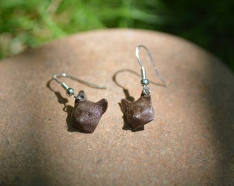 3D Printed Wooden Fox Heads Earings with Sterling Silver Earring Hooks