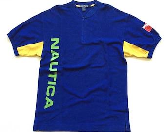 Vintage nautica yacht club spell out shirt nautica quarter zip t shirt jersey 90s vintage size large multi colour block