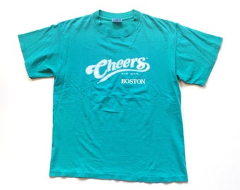 Vintage cheers boston t shirt 90s cheers shirt 1992 cheers boston bar pub alcohal wear size L teal turquoise 100% cotton single stitch 90s