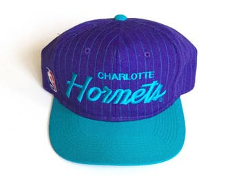 Vintage Charlotte Hornets sports specialties script snapback Pinstripe wool blend nba draft hat adjustable one size fits all teal purple