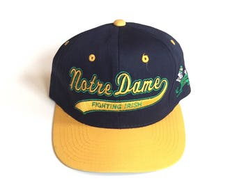 Vintage Notre Dame Fighting Irish starter script snapback twill the classic navy blue  yellow the 90s unisex one size fits all adjustable