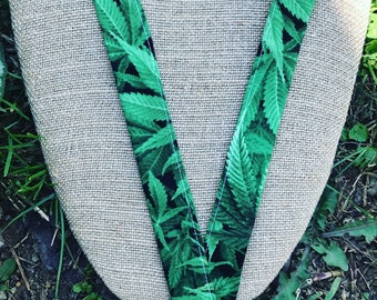 Hemp Leaves MaryJane Lanyard ID Badge Holder