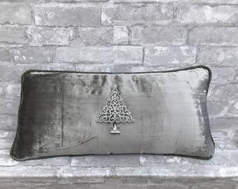 silver pillow, grey velvet pillow,holiday pillow,embellished pillow,snowflake pillow,christmas pillow,christmas tree pillow,jeweled pillow