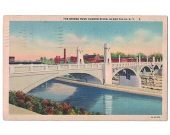South Glens Falls New York vintage linen postcard   Coopers Cave Bridge, Hudson River, James Fenimore Cooper   1930s NY travel decor