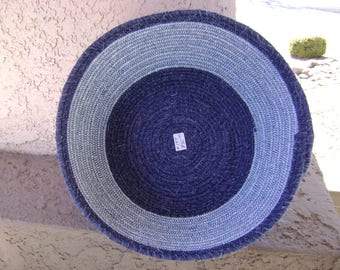 Lg Blue Tones Fabric Coiled Bowl #197